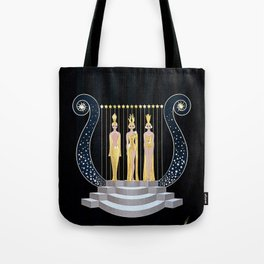 "Art Deco 1920's Illustration ""Lyre"" Tote Bag"