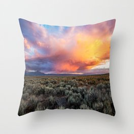 Enchanted Evening - Colorful Storm Cloud Over Desert near Taos, New Mexico Throw Pillow