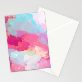 Colorful Abstract - pink and blue pattern Stationery Cards
