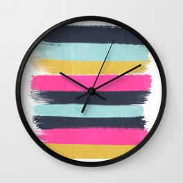 Inez - Brushstroke print in bold, modern colors Wall Clock