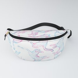 Hand painted teal pink watercolor cats Fanny Pack