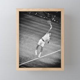 Roger Federer Black And White Wimbledon Tennis Framed Mini Art Print