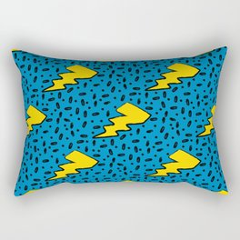 90's Retro Blue and Yellow Lightning Bolt Pattern Rectangular Pillow