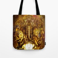 ganesha Tote Bags featuring Ganesha by Giorgio Finamore