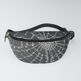 Spider web with dew water drops Fanny Pack