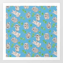Watercolor Bunnys and Clovers on Blue Background Art Print