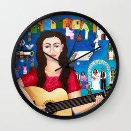 Violeta Parra playing guitar Wall Clock