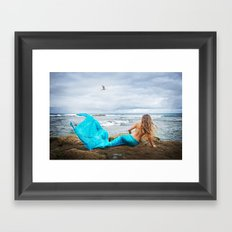 Blue Mermaid Framed Art Print
