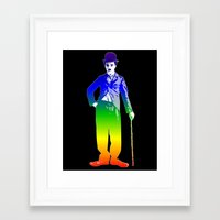 chaplin Framed Art Prints featuring Chaplin by PsychoBudgie