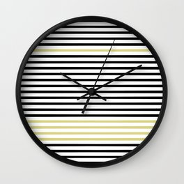 Black and White and Gold Stripes (Striped Pattern) Wall Clock