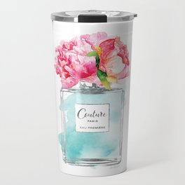 Perfume, watercolor, perfume bottle, with flowers, Teal, Silver, peonies, Fashion illustration Travel Mug