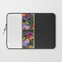 Watercolor Flowers Black White Gold Color Blocks Laptop Sleeve