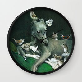 Whippet With Little Friends Wall Clock