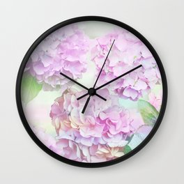 Painterly Hydrangea flowers on a pastel background Wall Clock