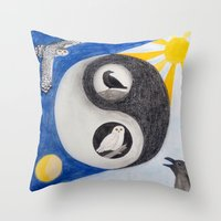 yin yang Throw Pillows featuring  Yin & Yang  by Owl Art Suri