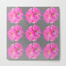 GREY MODERN ART PINK TROPICAL AMARYLLIS FLOWERS Metal Print
