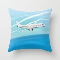 airplane Throw Pillows featuring Airplane by salamandra7