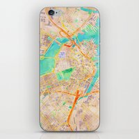 boston map iPhone & iPod Skins featuring Boston watercolor map Downtown by Cityette