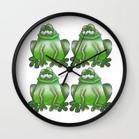 frog Wall Clocks featuring Frog by Frances Roughton