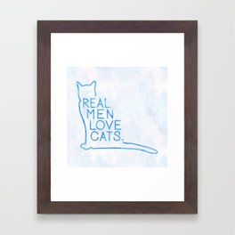 Real Men Love Cats Watercolor Blue Framed Art Print