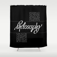 philosophy Shower Curtains featuring Philosophy by John Langdon
