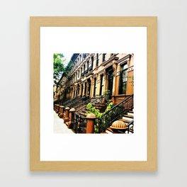 Harlem Brownstones on a summer's day Framed Art Print