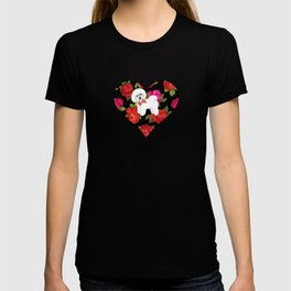 Bichon Frise gift, pink red floral , Bichon christmas gift, pet friendly dog breed gifts T-shirt