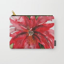 Bright Red Poinsettia Watercolor Carry-All Pouch