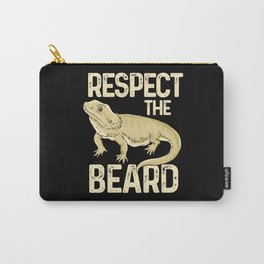 Respect The Beard - Funny Bearded Dragon Lizard Pet Illustration Carry-All Pouch
