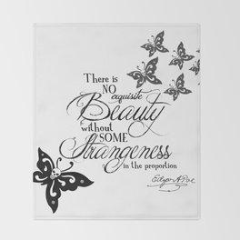 'Strange Skullerflies' -  Quotes - Edgar Allan Poe Throw Blanket