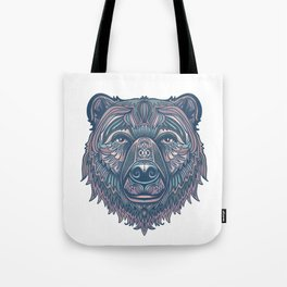 Bear lovers illustration/ hand drawn bear face/ pink, teal blue Tote Bag