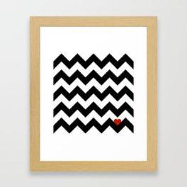 Heart & Chevron - Black/Classic Red Framed Art Print