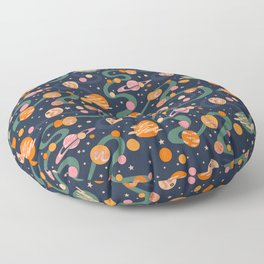 Cosmos Pattern, Blue, Orange, Green, Cosmic, Space Floor Pillow