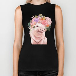 Baby Pig with Flowers Crown in Pastel Green Biker Tank
