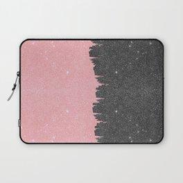 Pretty Girly Pink Black Faux Glitter Brushstroke Laptop Sleeve