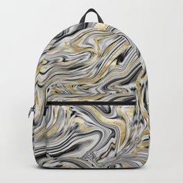 Gray Black White Gold Marble #1 #decor #art #society6 Backpack