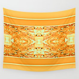 orange peacock inspired pattern Wall Tapestry