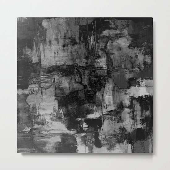 Crackled Gray - Black, white and gray, grey textured abstract Metal Print
