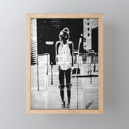 City walker bw Framed Mini Art Print