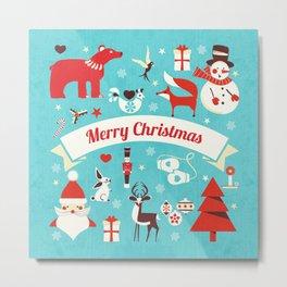 Christmas icons illustration Metal Print