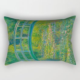 Claude Monet Impressionist Landscape Oil Painting-The Japanese Footbridge and the Water Lily Pool Rectangular Pillow