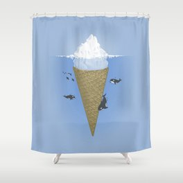 Ice Cream and Whale Shower Curtain