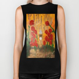150 Years of CU - An Alumni Anniversary Tribute with Red Tulip Flowers Biker Tank