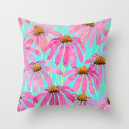Pink Coneflowers On Turquoise - Watercolor Floral  Throw Pillow