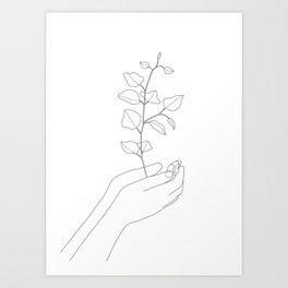 Minimal Hand Holding the Branch II Art Print