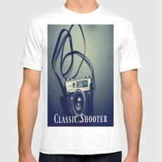 Classic Shooter White Mens Fitted Tee MEDIUM