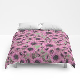 Luscious Pink Sunflower  Comforters