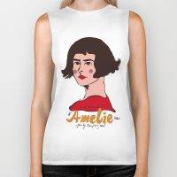 amelie Biker Tanks featuring Amelie Print 3 by Saffa Khan
