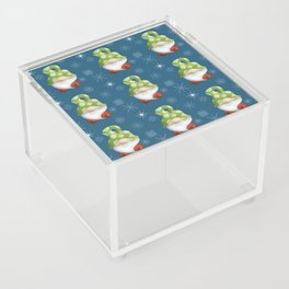 Blue Winter Gnome Pattern Acrylic Box