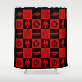 SPN Hunter Checkers Shower Curtain